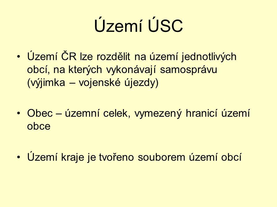 Území ÚSC Území ČR lze rozdělit na území jednotlivých obcí, na kterých vykonávají samosprávu (výjimka – vojenské újezdy)