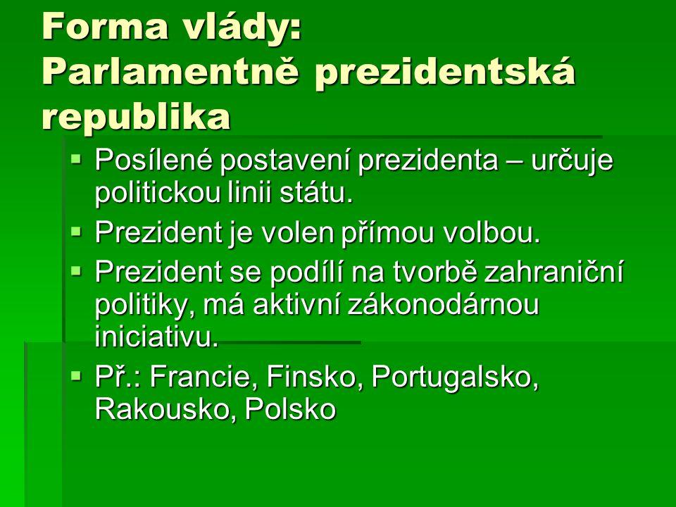 Forma vlády: Parlamentně prezidentská republika