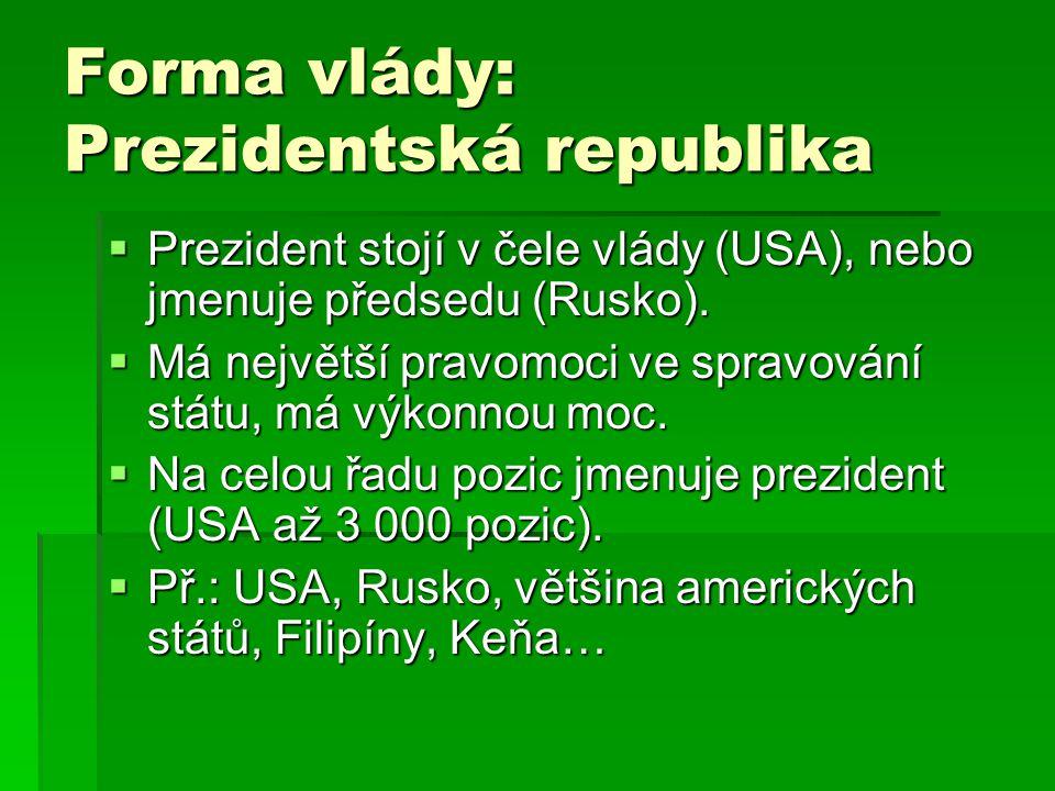 Forma vlády: Prezidentská republika