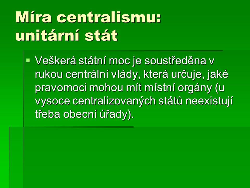 Míra centralismu: unitární stát
