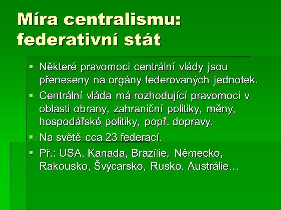 Míra centralismu: federativní stát