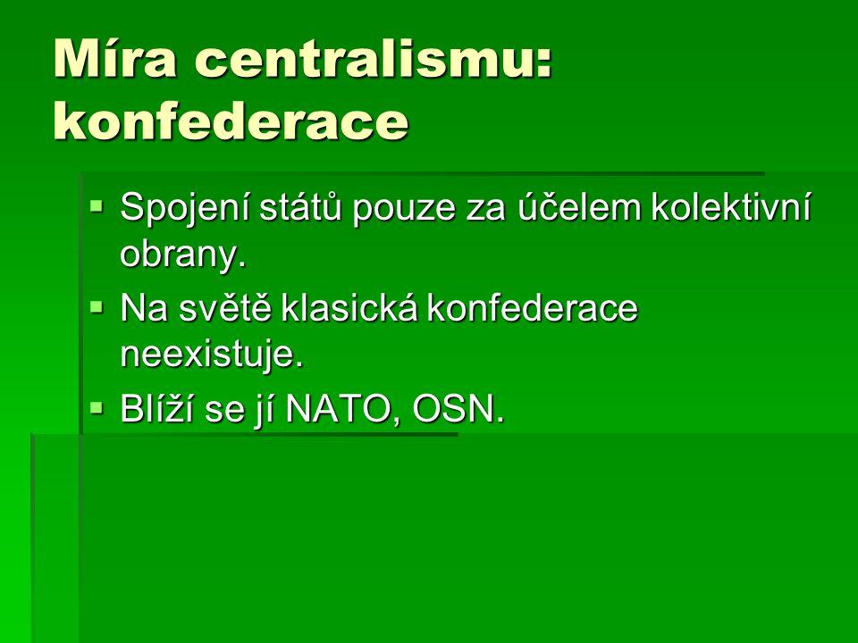 Míra centralismu: konfederace