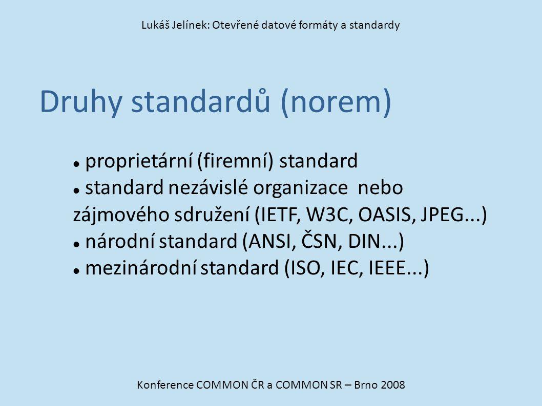 Druhy standardů (norem)