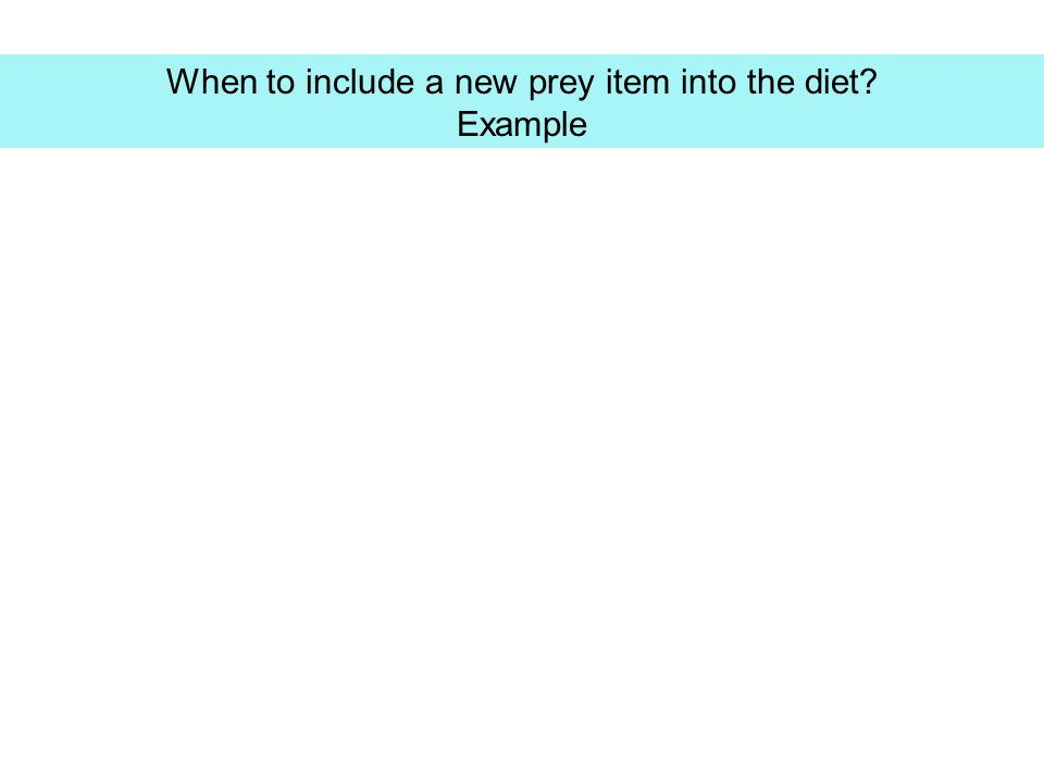 When to include a new prey item into the diet