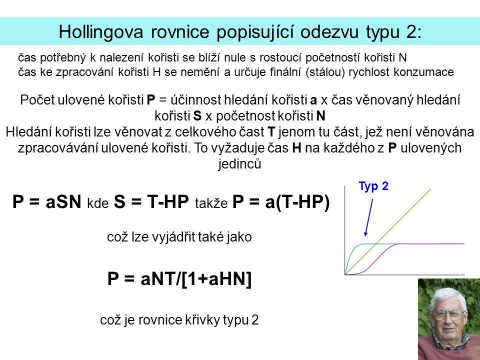 Hollingova rovnice popisující odezvu typu 2: