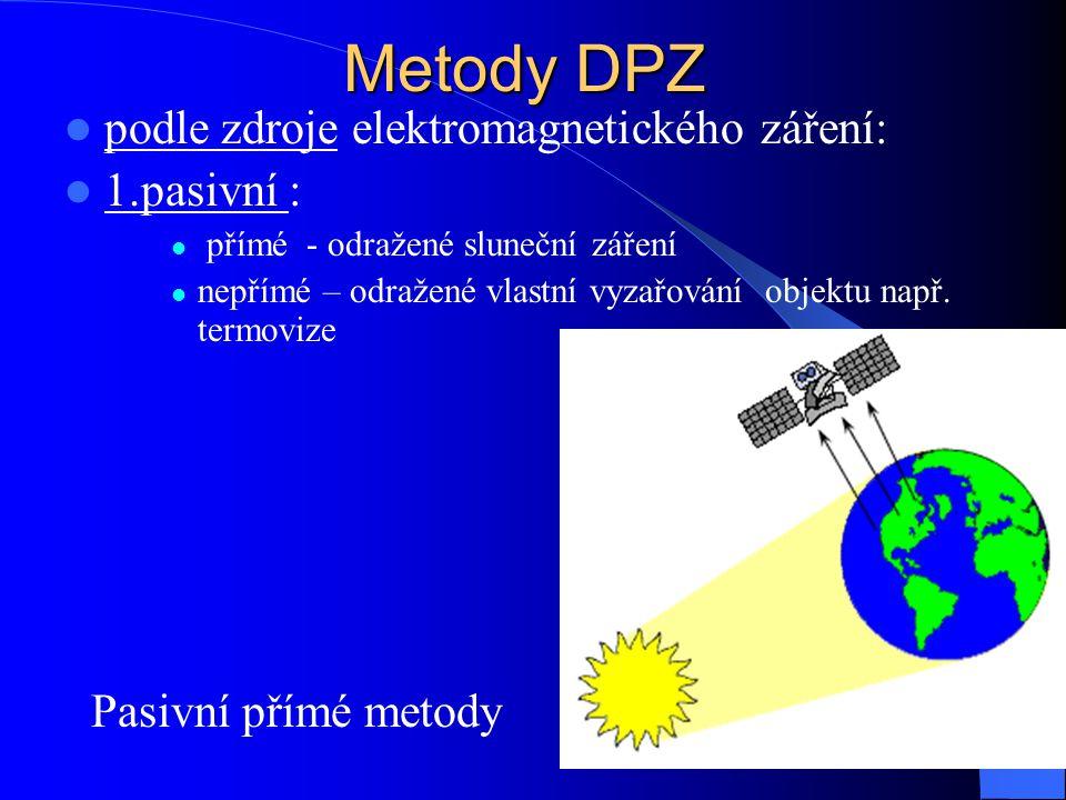 Metody DPZ podle zdroje elektromagnetického záření: 1.pasivní :