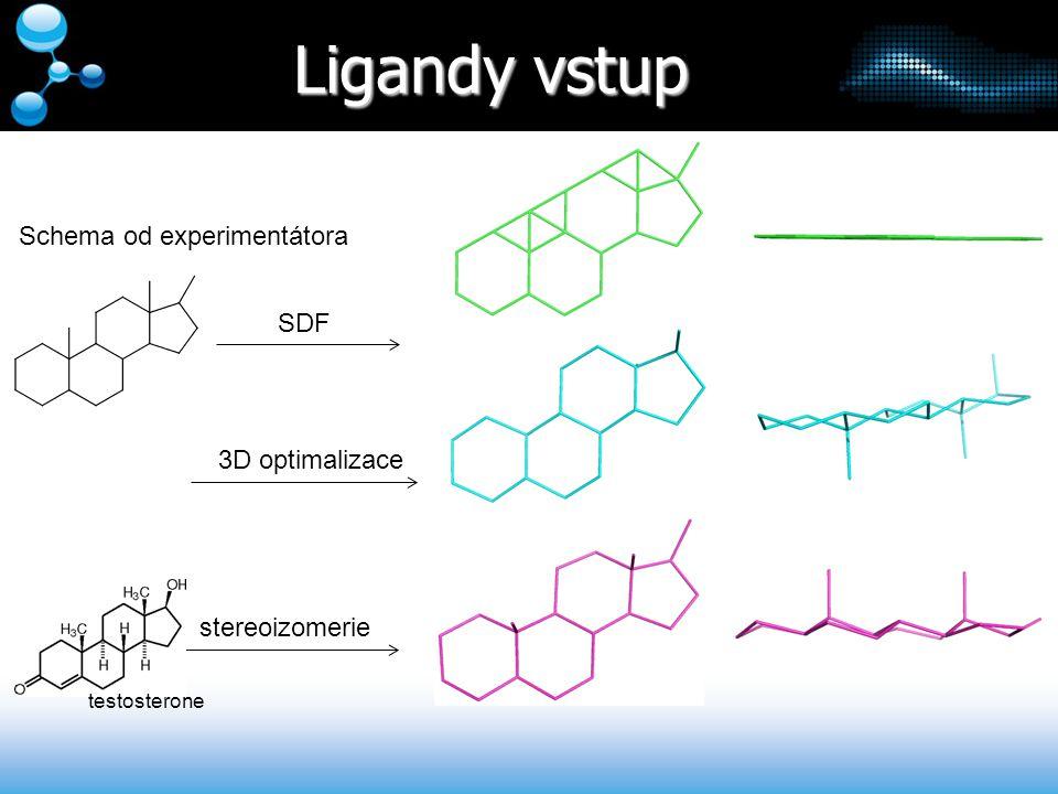 Ligandy vstup Schema od experimentátora SDF 3D optimalizace