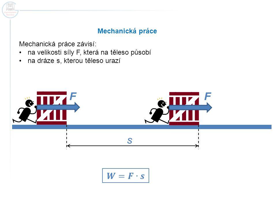 F F s 𝑾=𝑭∙𝒔 Mechanická práce Mechanická práce závisí: