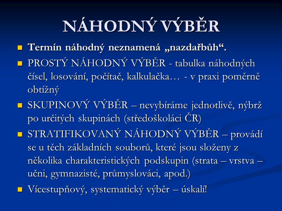 """NÁHODNÝ VÝBĚR Termín náhodný neznamená """"nazdařbůh ."""