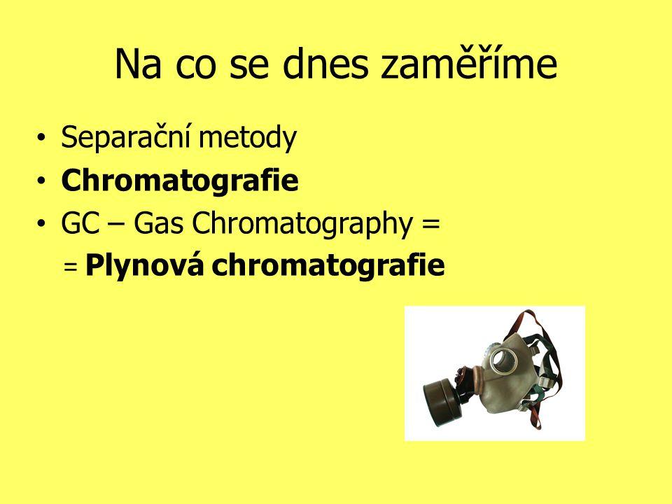 Na co se dnes zaměříme Separační metody Chromatografie