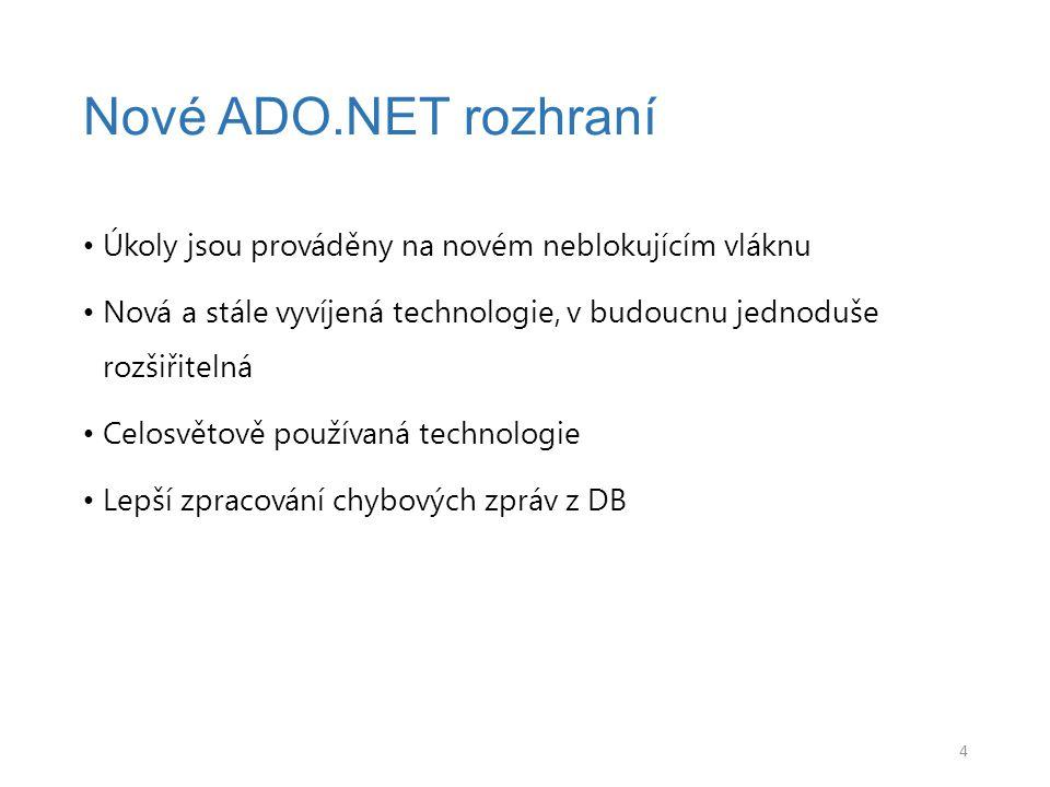 Nové ADO.NET rozhraní Úkoly jsou prováděny na novém neblokujícím vláknu. Nová a stále vyvíjená technologie, v budoucnu jednoduše rozšiřitelná.