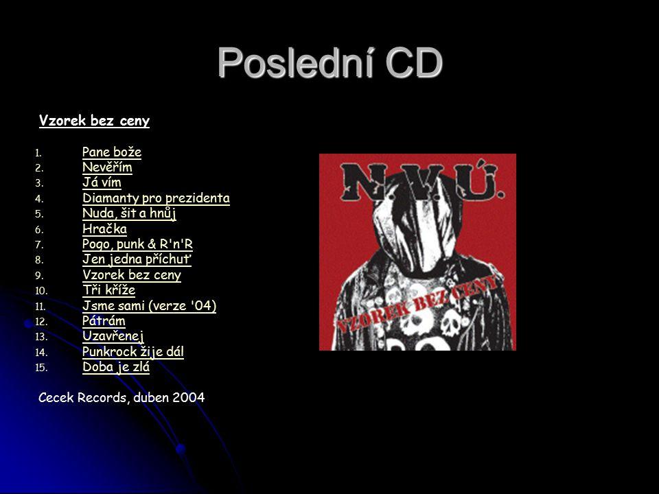Poslední CD Vzorek bez ceny Pane bože Nevěřím Já vím