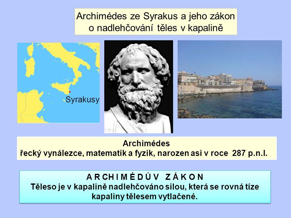 Archimédes ze Syrakus a jeho zákon o nadlehčování těles v kapalině