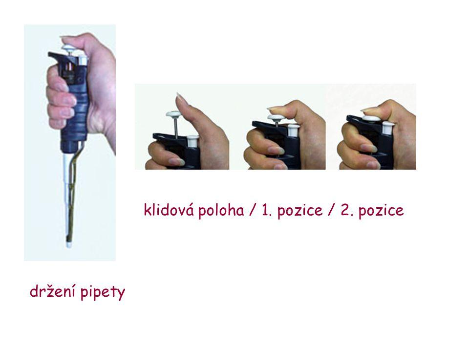 klidová poloha / 1. pozice / 2. pozice