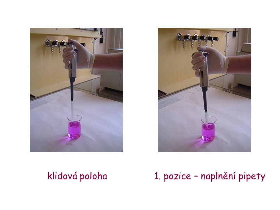 klidová poloha 1. pozice – naplnění pipety