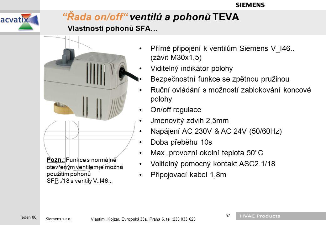 Řada on/off ventilů a pohonů TEVA Vlastnosti pohonů SFA…