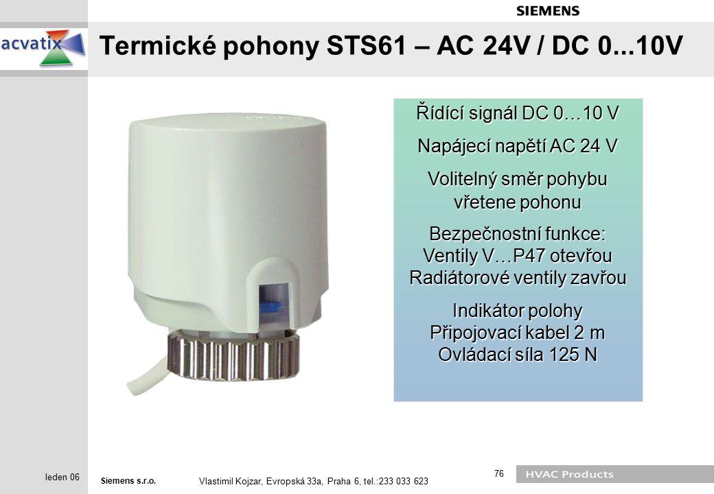 Termické pohony STS61 – AC 24V / DC 0...10V
