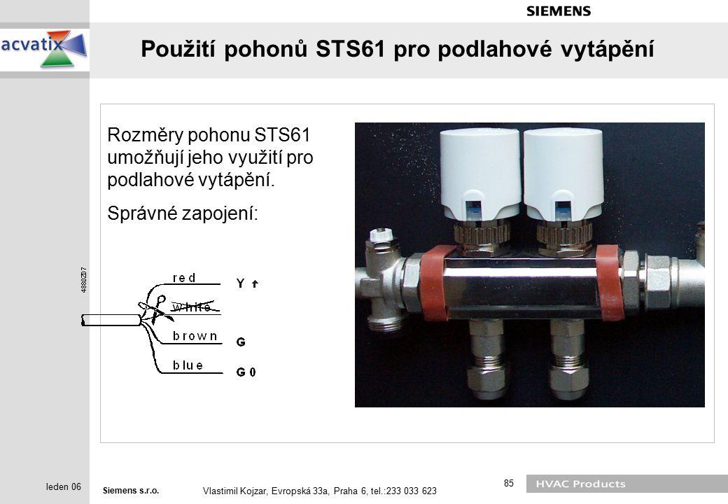 Použití pohonů STS61 pro podlahové vytápění