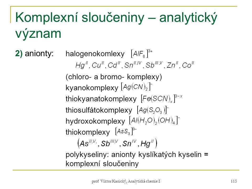 Komplexní sloučeniny – analytický význam