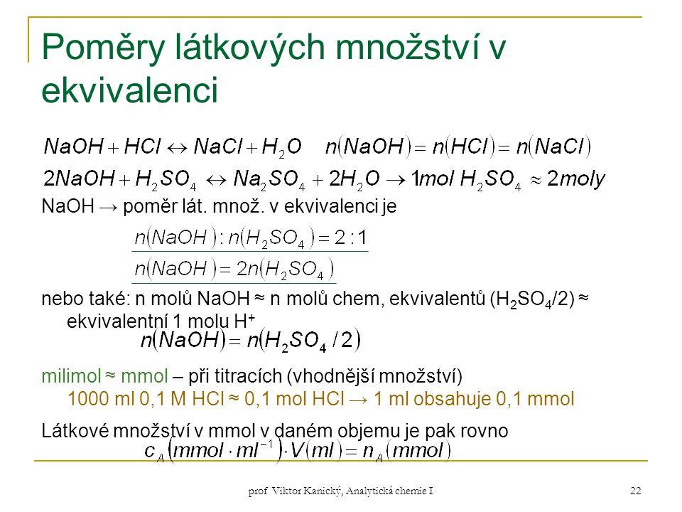 Poměry látkových množství v ekvivalenci