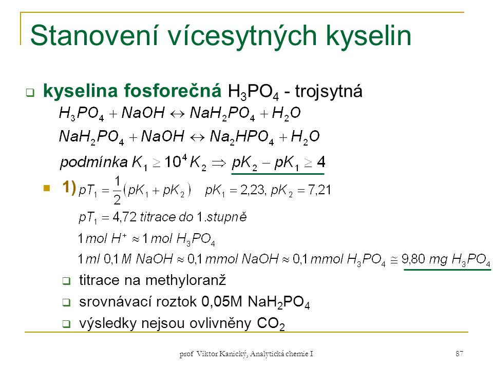 Stanovení vícesytných kyselin