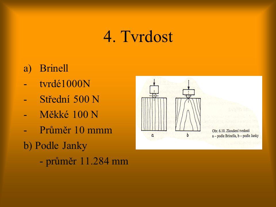 4. Tvrdost Brinell tvrdé1000N Střední 500 N Měkké 100 N Průměr 10 mmm
