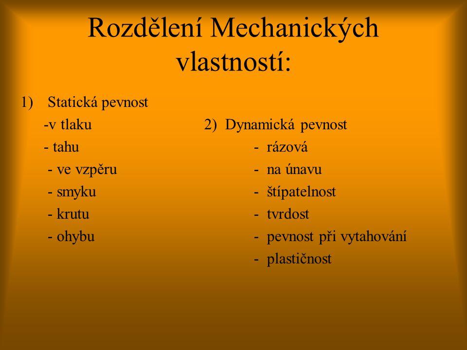 Rozdělení Mechanických vlastností: