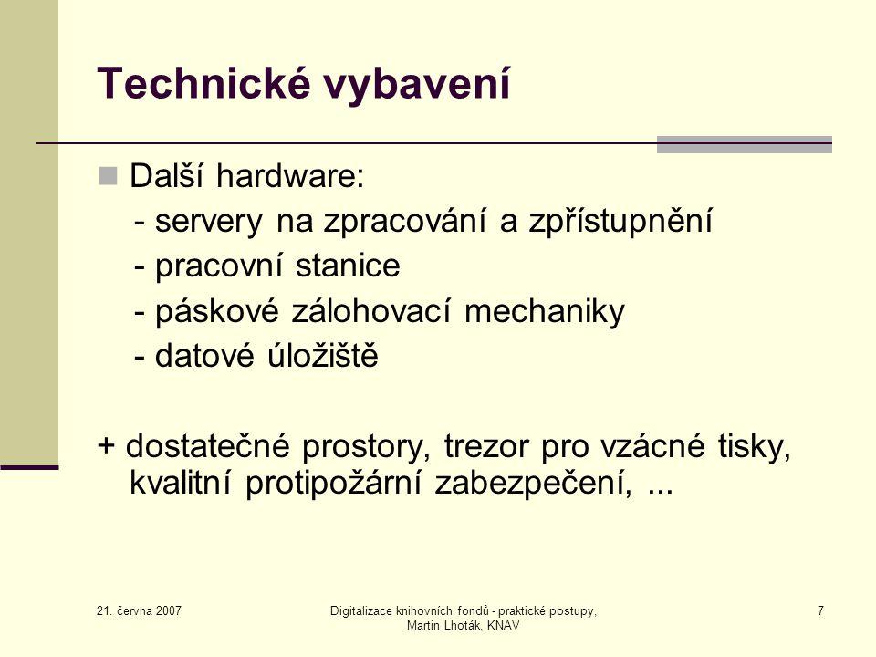 Digitalizace knihovních fondů - praktické postupy, Martin Lhoták, KNAV
