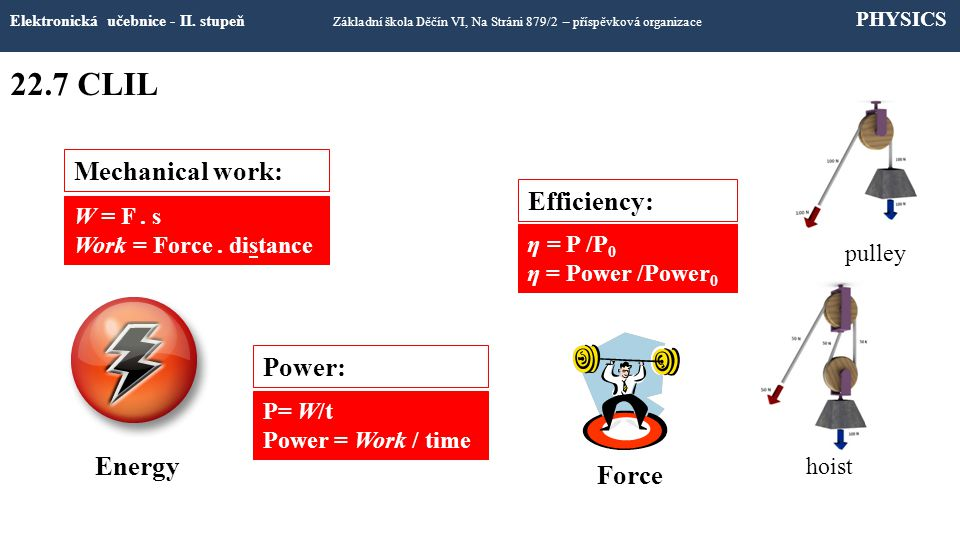 22.7 CLIL Mechanical work: Efficiency: Power: Energy Force W = F . s