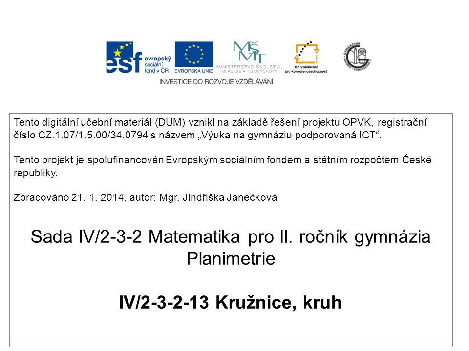 Sada IV/2-3-2 Matematika pro II. ročník gymnázia