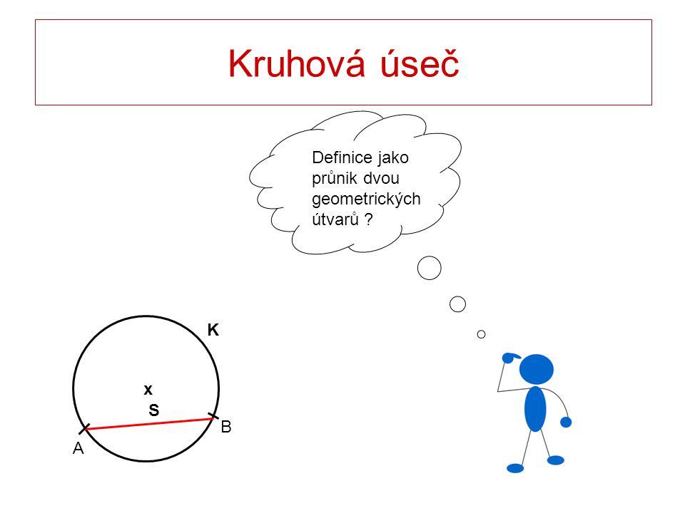 Kruhová úseč Definice jako průnik dvou geometrických útvarů K x S B
