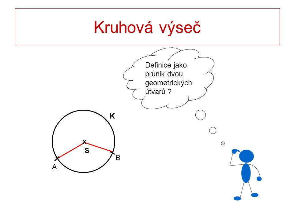 Kruhová výseč Definice jako průnik dvou geometrických útvarů K x S B