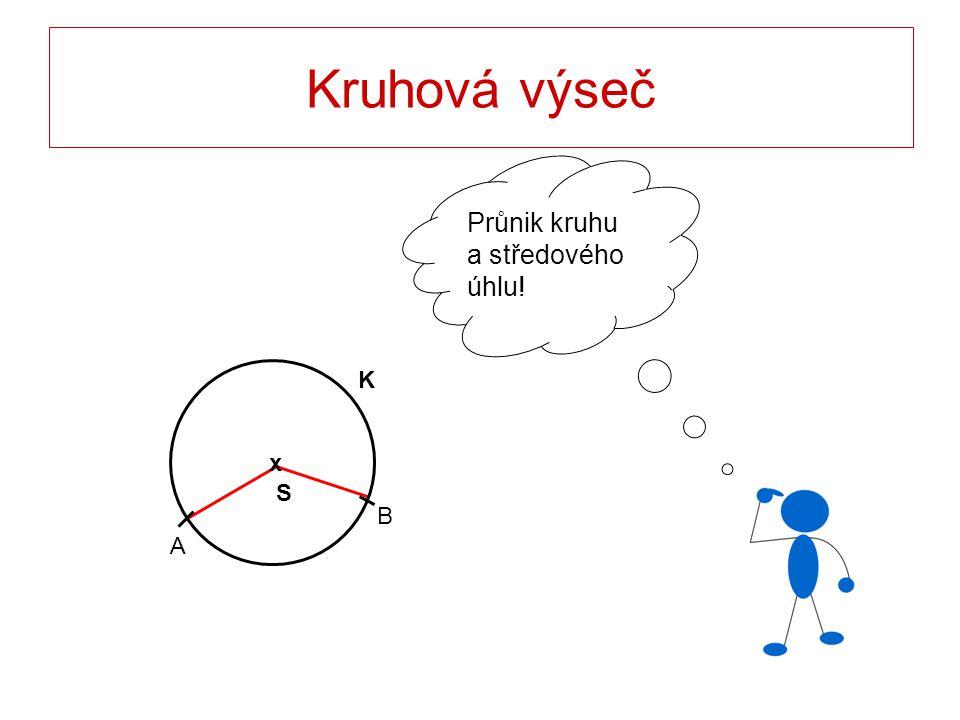 Kruhová výseč Průnik kruhu a středového úhlu! S x K A B
