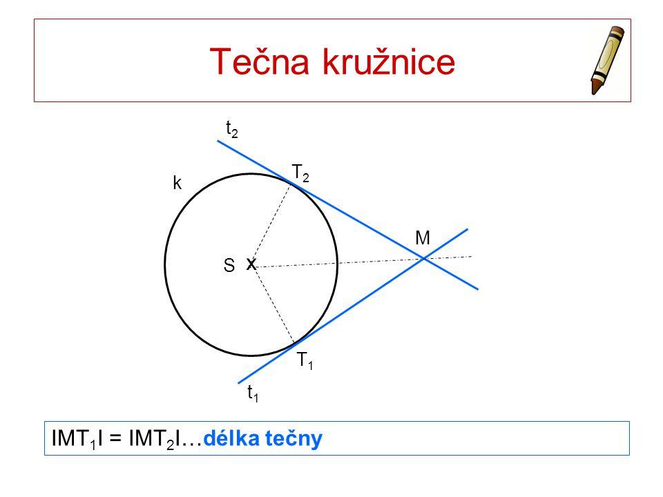 Tečna kružnice T1 T2 t1 t2 M k x S IMT1I = IMT2I…délka tečny