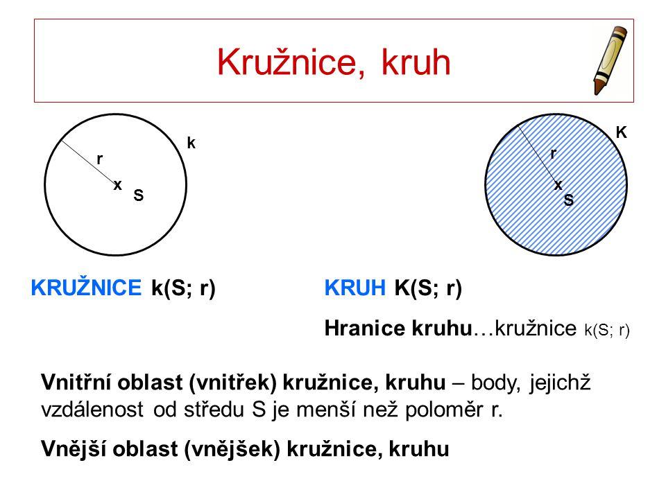 Kružnice, kruh KRUŽNICE k(S; r) KRUH K(S; r)