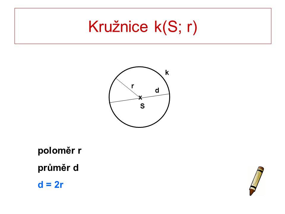 Kružnice k(S; r) r S x d k poloměr r průměr d d = 2r