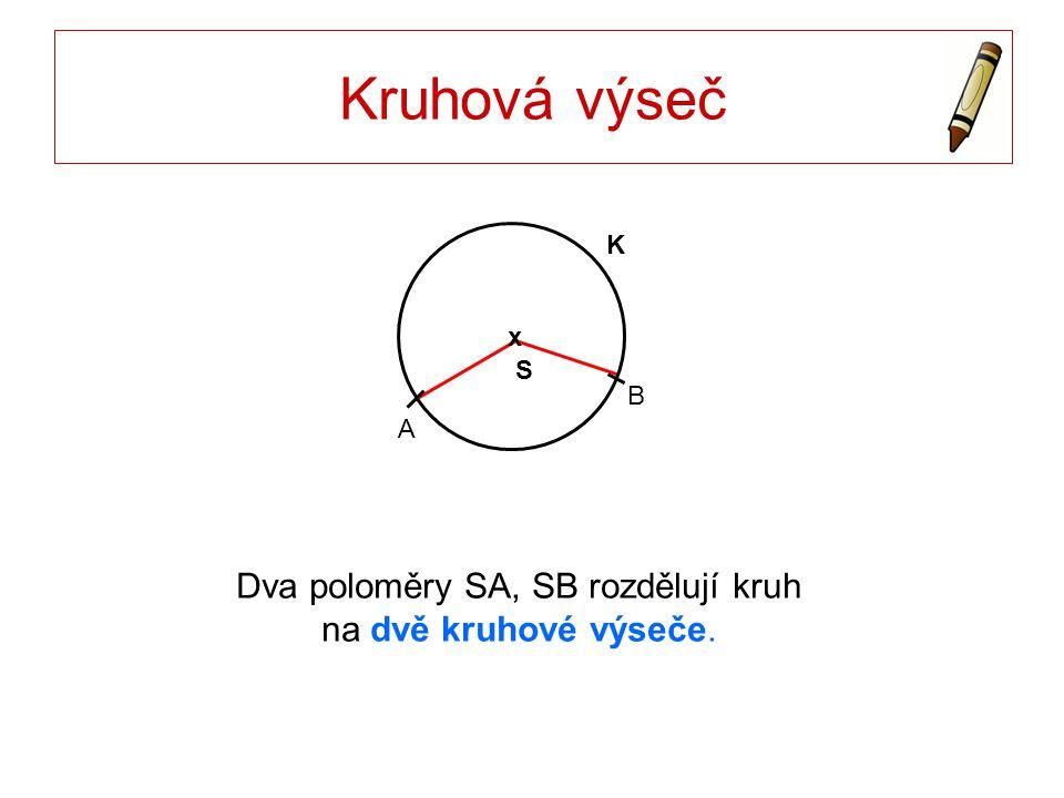 Dva poloměry SA, SB rozdělují kruh na dvě kruhové výseče.