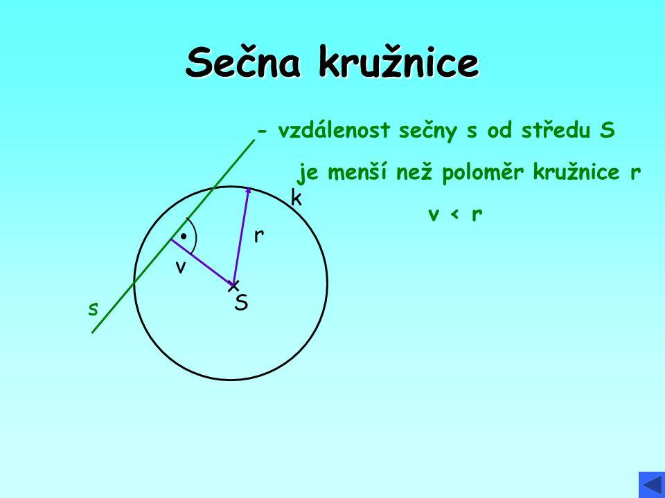 Sečna kružnice - vzdálenost sečny s od středu S