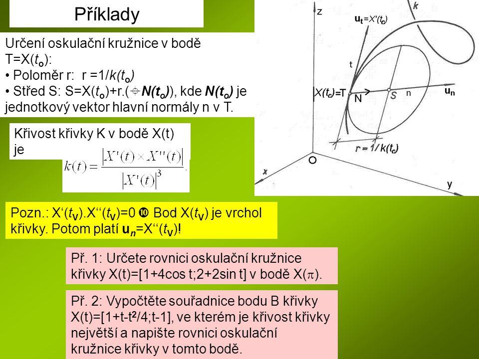Příklady Určení oskulační kružnice v bodě T=X(to):