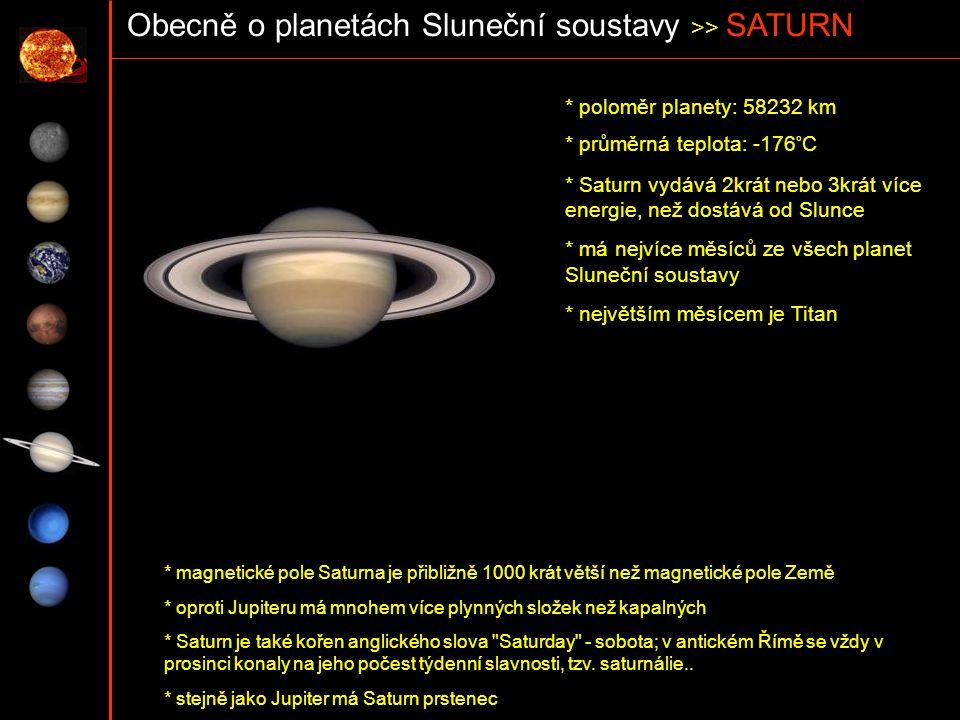 Obecně o planetách Sluneční soustavy >> SATURN