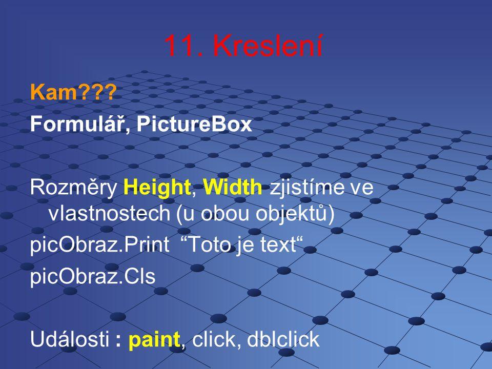 11. Kreslení Kam Formulář, PictureBox