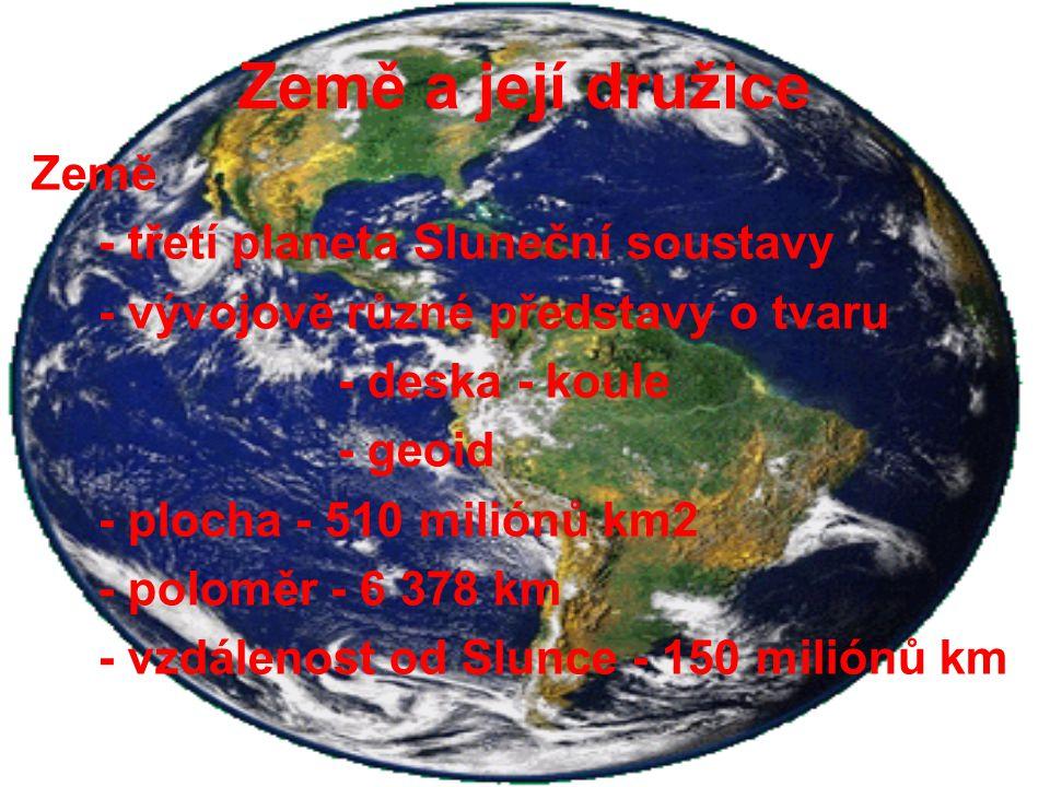 Země a její družice Země - třetí planeta Sluneční soustavy