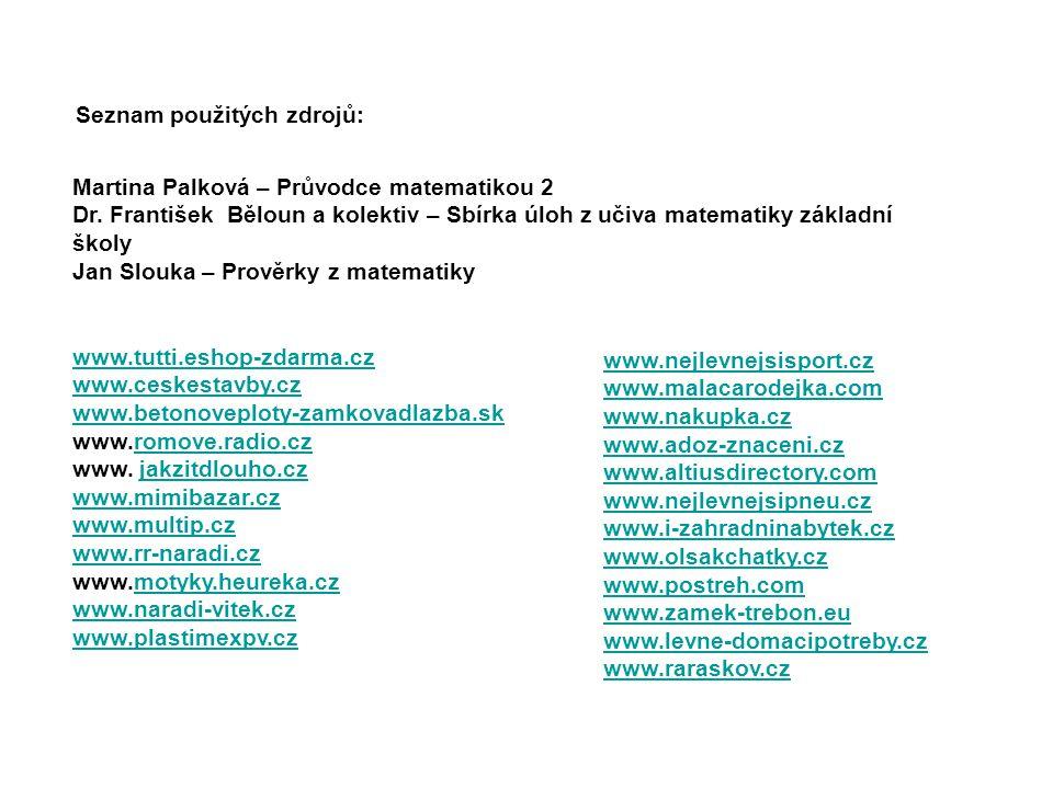 Seznam použitých zdrojů: