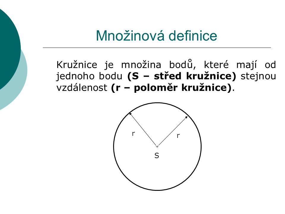 Množinová definice Kružnice je množina bodů, které mají od jednoho bodu (S – střed kružnice) stejnou vzdálenost (r – poloměr kružnice).