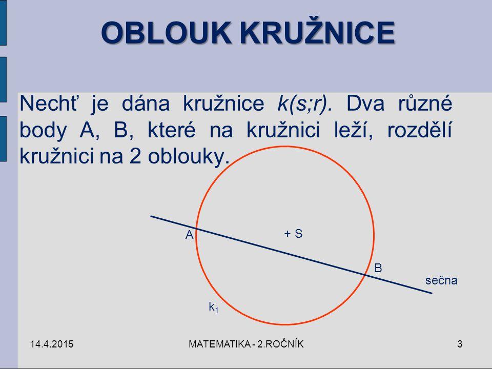 OBLOUK KRUŽNICE Nechť je dána kružnice k(s;r). Dva různé body A, B, které na kružnici leží, rozdělí kružnici na 2 oblouky.