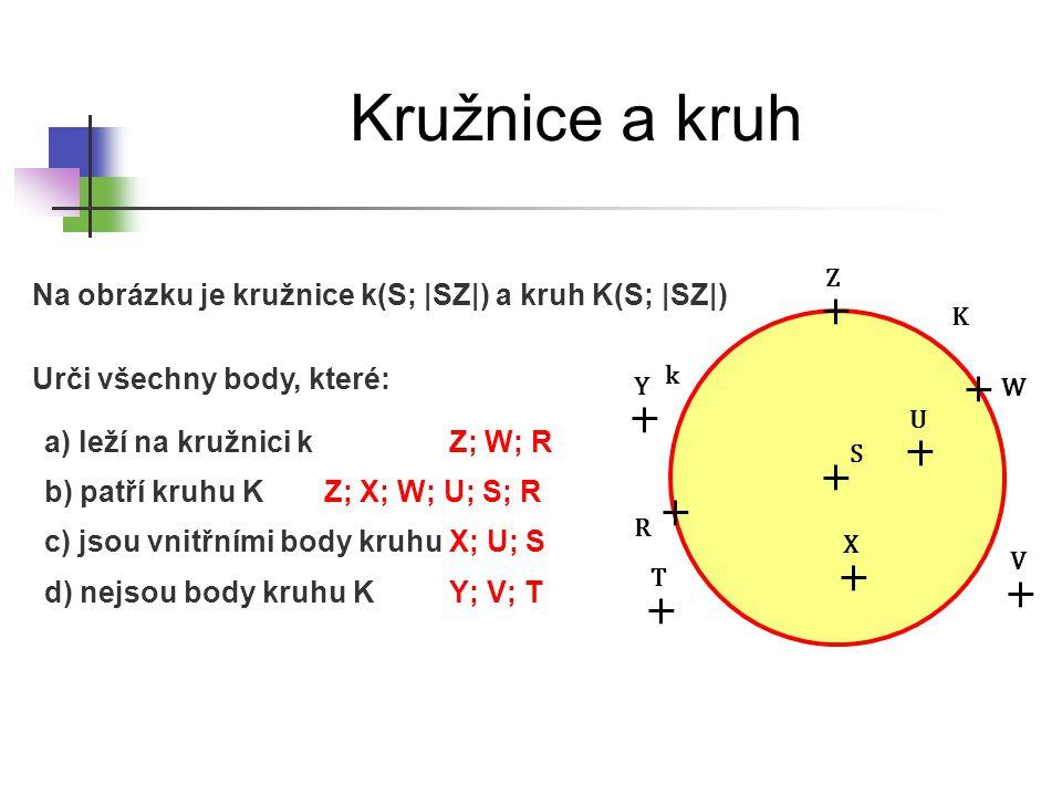 Kružnice a kruh Na obrázku je kružnice k(S; |SZ|) a kruh K(S; |SZ|)
