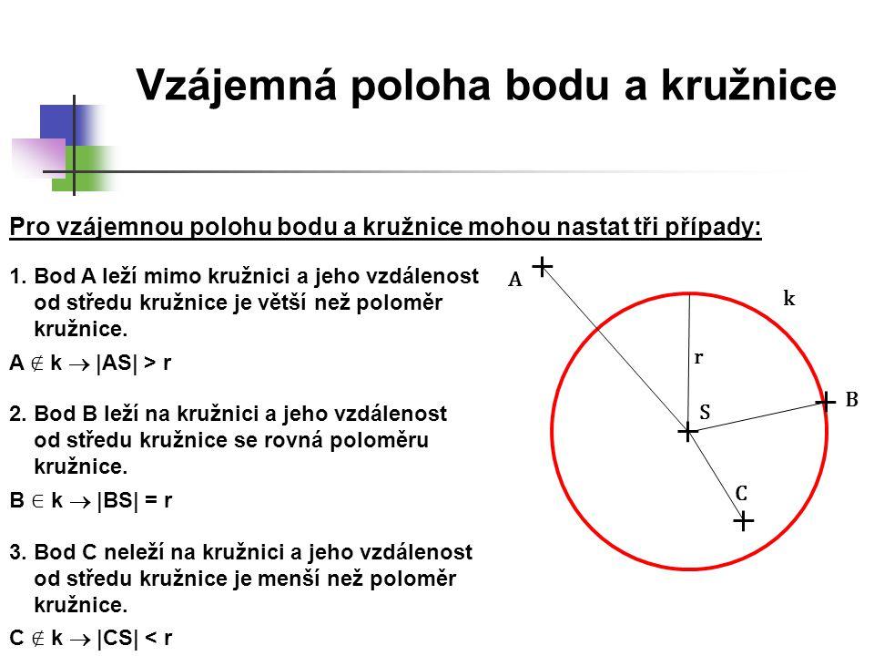Vzájemná poloha bodu a kružnice