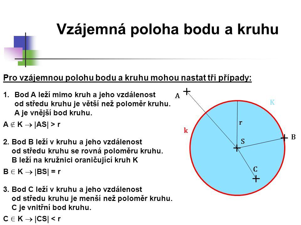 Vzájemná poloha bodu a kruhu