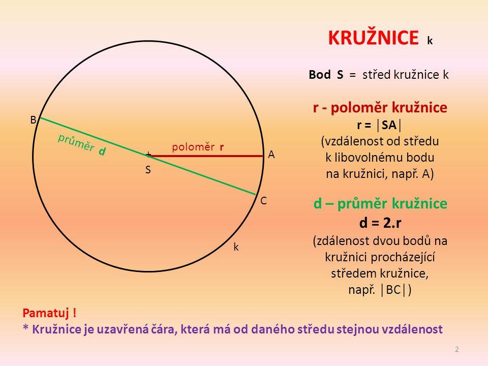 (zdálenost dvou bodů na kružnici procházející středem kružnice,