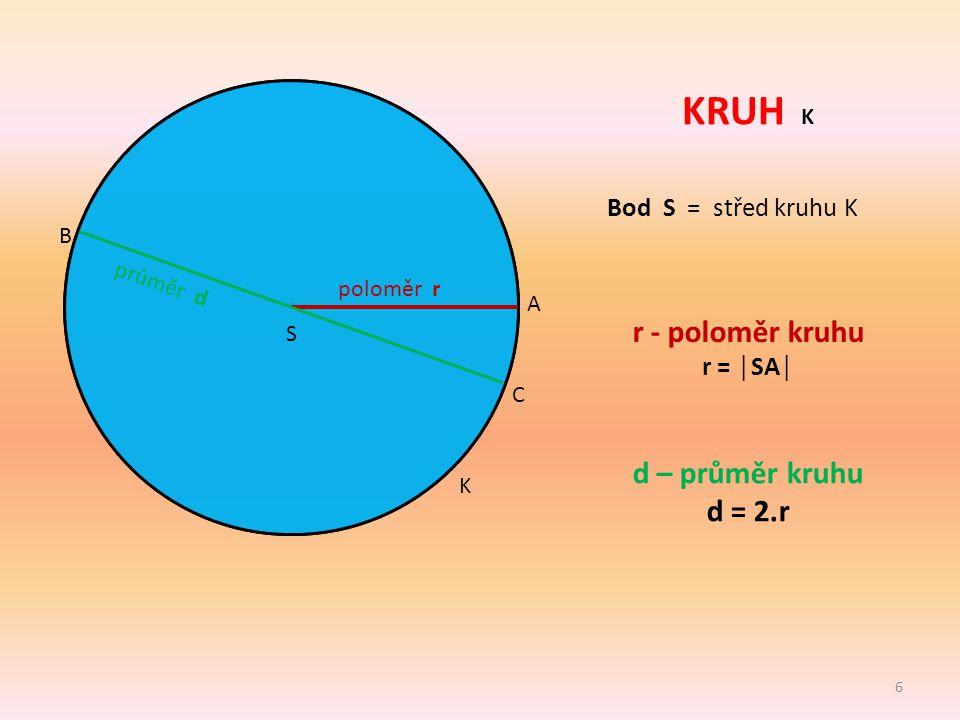 KRUH K r - poloměr kruhu d – průměr kruhu d = 2.r